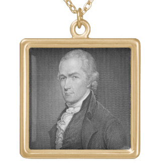 Alexander Hamilton (1757-1804) engraved by John Fr Square Pendant Necklace