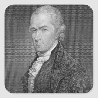 Alexander Hamilton (1757-1804) engraved by John Fr Square Sticker