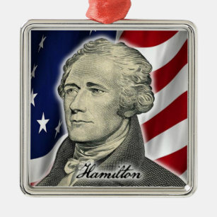 Hamilton Christmas Ornament.Alexander Hamilton Christmas Metal Ornament