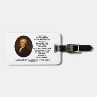 Alexander Hamilton Government Passion Constraint Bag Tag