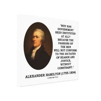 Alexander Hamilton Government Passion Constraint Canvas Print