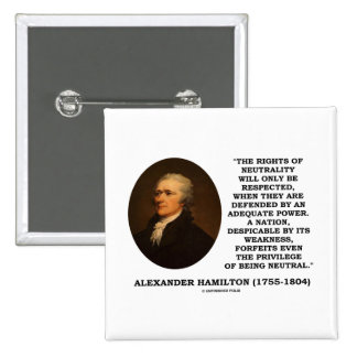Alexander Hamilton Rights Of Neutrality Power Pinback Buttons