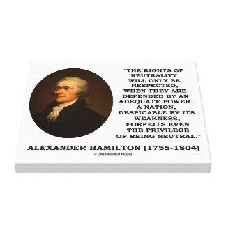 Alexander Hamilton Rights Of Neutrality Power Canvas Print