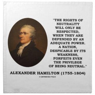 Alexander Hamilton Rights Of Neutrality Power Cloth Napkin