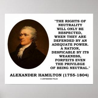 Alexander Hamilton Rights Of Neutrality Power Poster