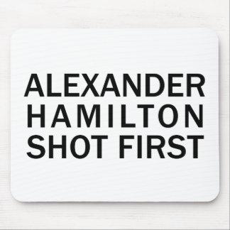 Alexander Hamilton Shot First - White T-Shirt, Etc Mouse Pad