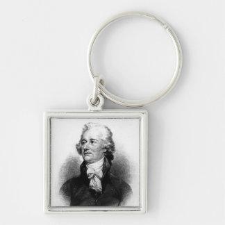 Alexander Hamilton Silver-Colored Square Keychain