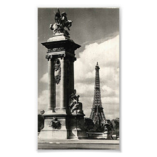 Alexander III Bridge and Eiffel Tower in Paris Photo Print