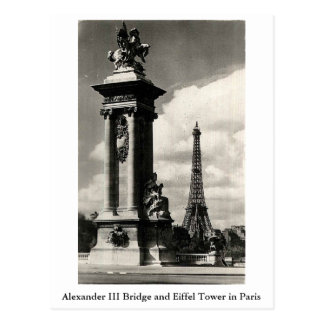 Alexander III Bridge and Eiffel Tower in Paris Postcard