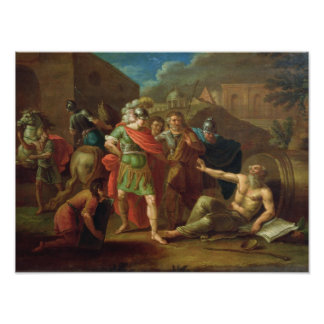Alexander las grandes visitas Diógenes en Corinto Poster