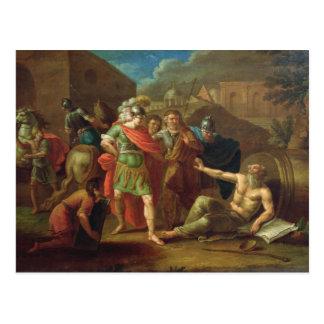 Alexander las grandes visitas Diógenes en Corinto Postales
