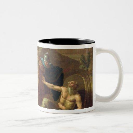 Alexander las grandes visitas Diógenes en Corinto Taza De Dos Tonos
