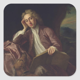 Alexander Pope and his dog, Bounce, c.1718 Square Sticker