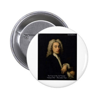 "Alexander Pope ""Art Vs Wit"" Wisdom Quote Gifts Button"