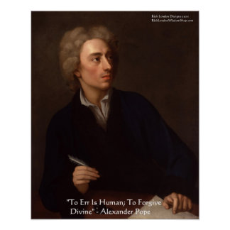 "Alexander Pope ""To Err Is Human"" Wisdom Quote Post Poster"