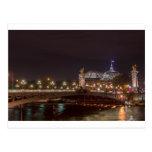 Alexander puente and gran palacio AT night París Postal