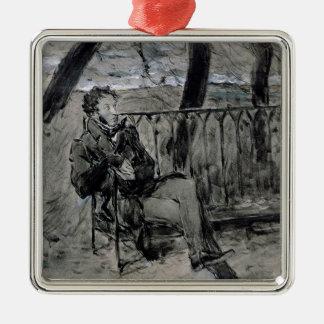 Alexander Pushkin  in a Park, 1899 Metal Ornament