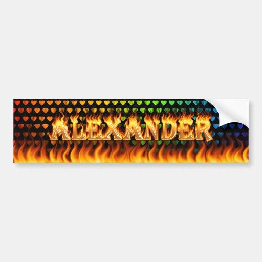 Alexander real fire and flames bumper sticker desi