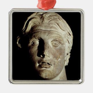 Alexander the Great , found in Pergamum Square Metal Christmas Ornament