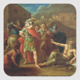 Alexander the Great visits Diogenes at Corinth Square Sticker