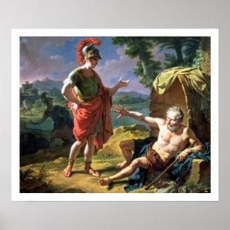 Alexander y Diógenes, 1818 (aceite en lona) Posters