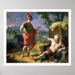 Alexander y Diógenes, 1818 (aceite en lona) Póster