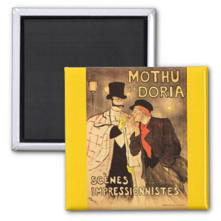Alexandre Theophile Steinlen Mothu et Doria 2 Inch Square Magnet