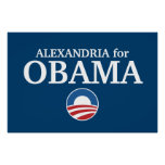 ALEXANDRIA for Obama custom your city personalized Posters