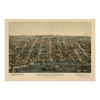 Alexandría, mapa panorámico del VA - 1863 Impresiones