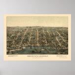 Alexandría, mapa panorámico del VA - 1863 Póster
