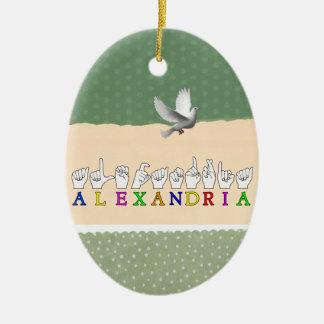 ALEXANDRIA  NAME ASL FINGER SPELLED SIGN ORNAMENTS