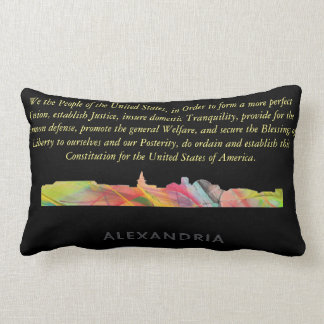 ALEXANDRIA VIRGINIA SKYLINE BW1 - LUMBAR PILLOW