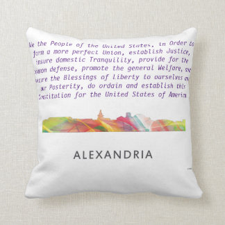 ALEXANDRIA VIRGINIA SKYLINE BW1 - THROW PILLOW