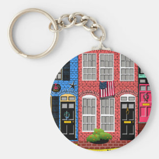 Alexandria, Virginia Townhouses Basic Round Button Keychain