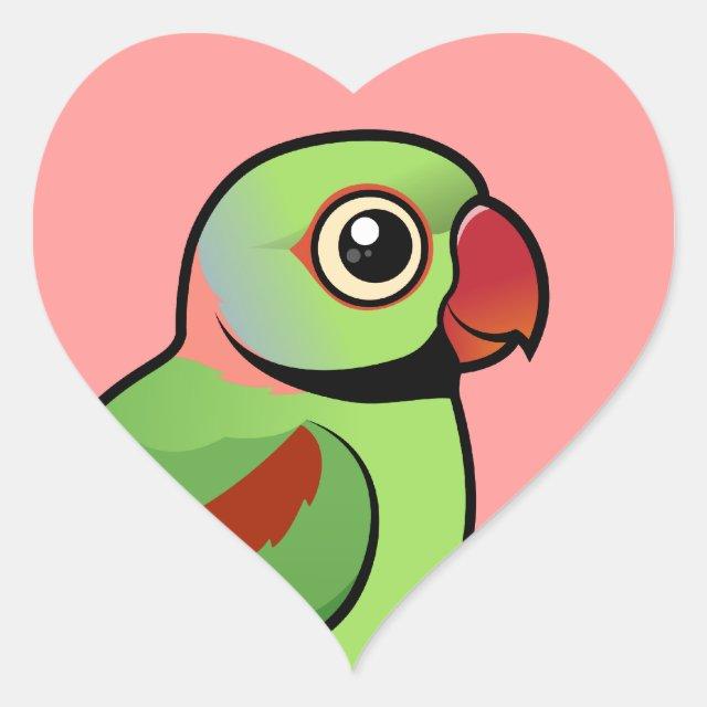 Cute Alexandrine Parakeet Heart Sticker