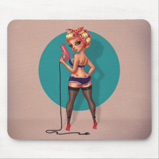Alexis Dean - Pinup Model with a Hair Dryer Mousepad