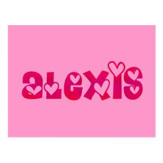 Alexis en corazones tarjeta postal