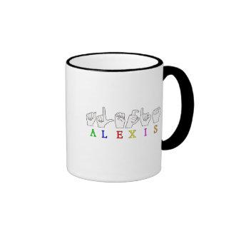 ALEXIS FINGERSPELLED ASL SIGN NAME FE MALE RINGER COFFEE MUG