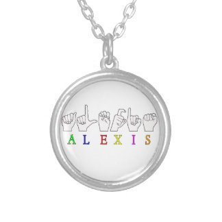 ALEXIS FINGERSPELLED ASL SIGN NAME FE MALE ROUND PENDANT NECKLACE