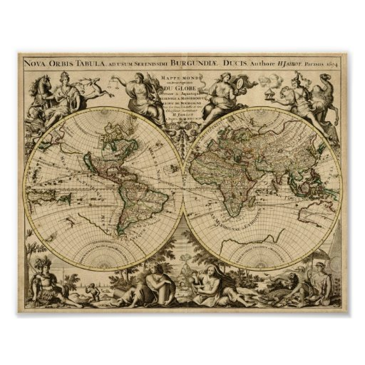 Alexis Hubert Jaillot 1694 Map of the World Poster
