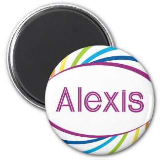 Alexis in rainbow happy frame 2 inch round magnet