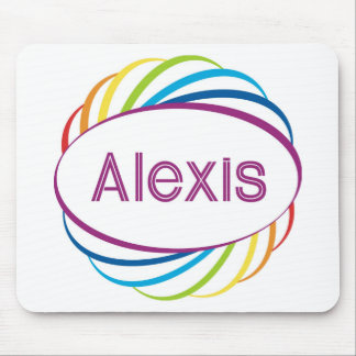 Alexis in rainbow happy frame mouse pad