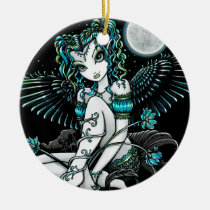 alexis, water, lily, flowers, moon, angel, fairy, faery, fae, faerie, fantasy, art, myka, jelina, big, eyed, mika, angels, Ornament with custom graphic design
