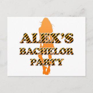Alex's Bachelor Party Invitation Postcard