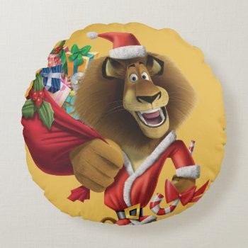 Alex's Holiday Presents Round Pillow by madagascar at Zazzle