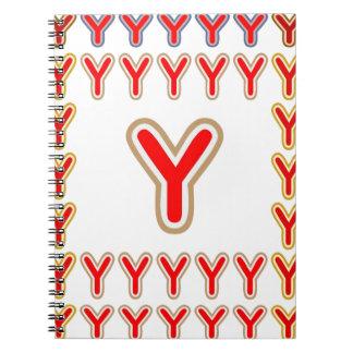 ALFA decorativa YYY Y YY del ALFABETO de YYY Libreta Espiral
