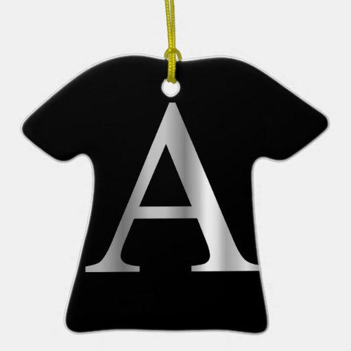 Alfa griega de la letra adorno de cerámica en forma de playera