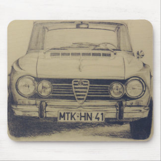 Alfa Romeo Giulia draw old time classic car Mouse Pad