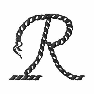 """Alfabeto 2,5"""" de la cuerda de """"R"""" Sudadera Bordada Con Cremallera"""