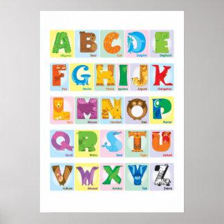 Alfabeto animal - cuadrados poster